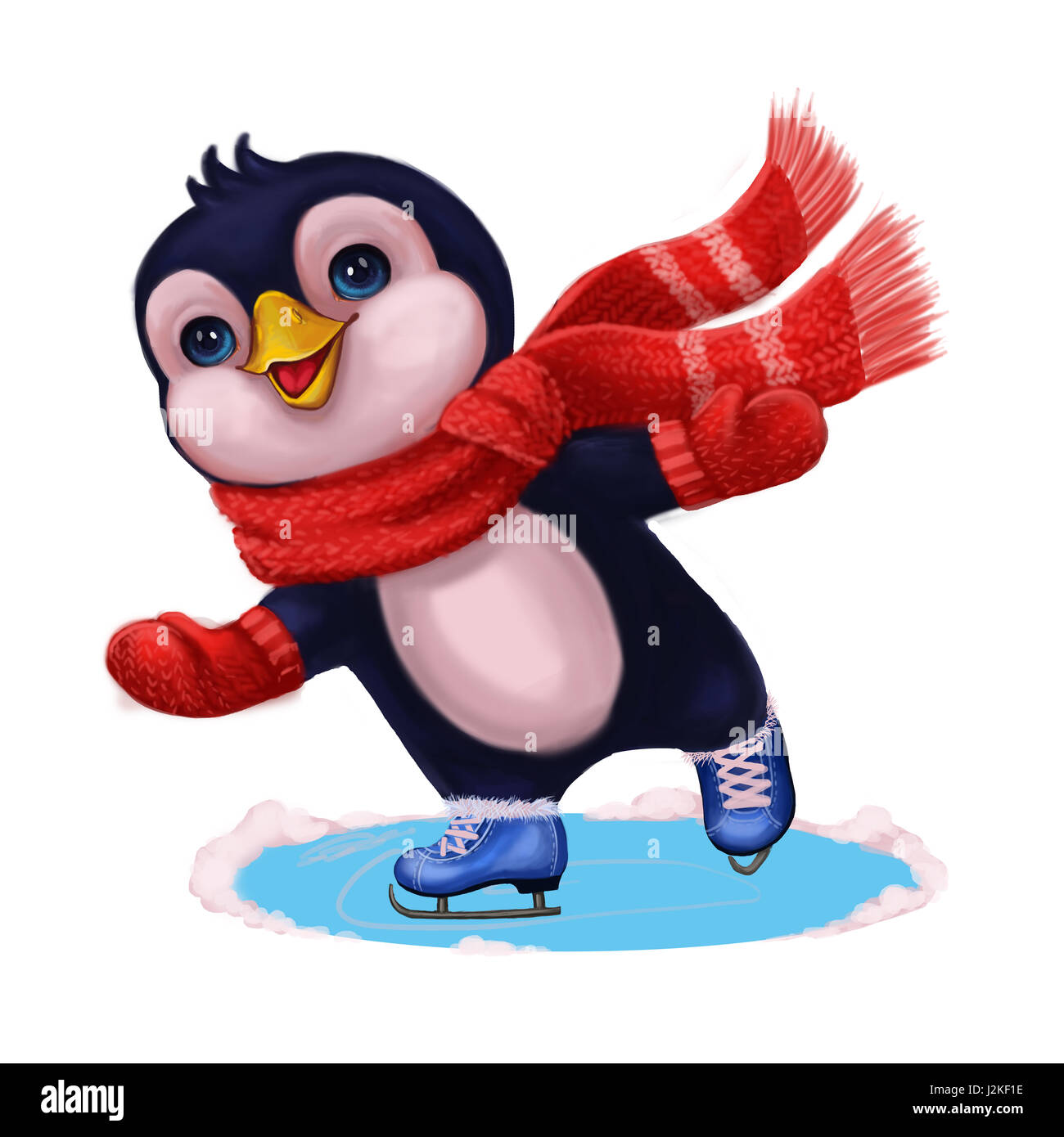 seasons greetings with cute little penguin funny character ice skating merry christmas and happy new year hand drawn