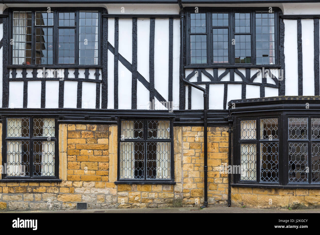 detail of traditional half-timbered buildings at Cheap Street, Sherborne, Dorset, England UK in April - Stock Image