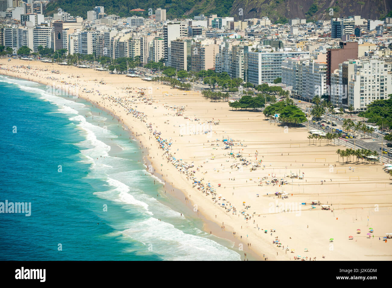 Scenic overlook of the Rio de Janeiro city skyline with the broad crescent of beach at Copacabana - Stock Image