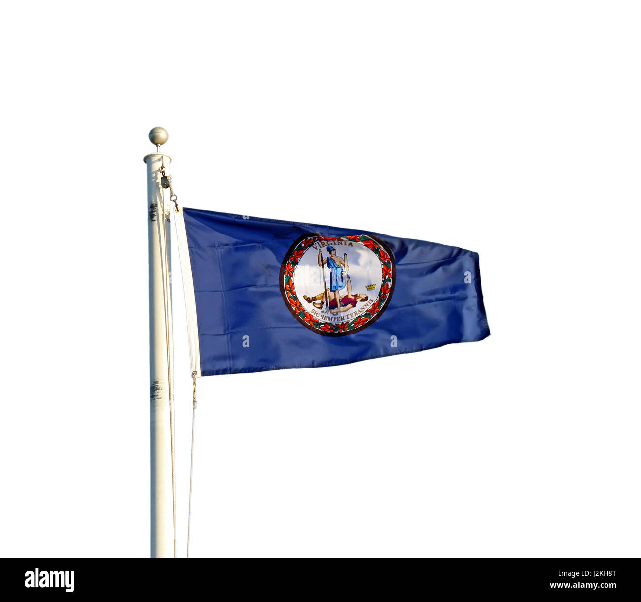 Flag of the Commonwealth of Virginia flying from a white pole isolated against a white background - Stock Image