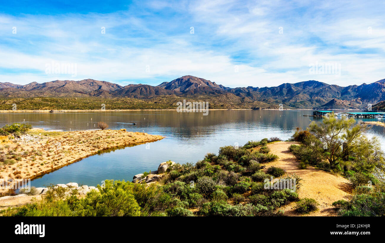Beautiful scenery of a winter desert landscape in Tonto National Forest in the Lake Bartlett area in Arizona, USA - Stock Image