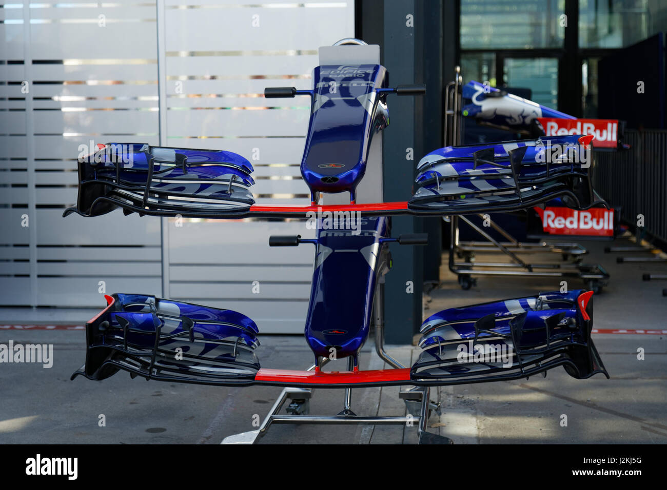 Toro Rosso front wings on display in Melbourne GP pit lane - Stock Image