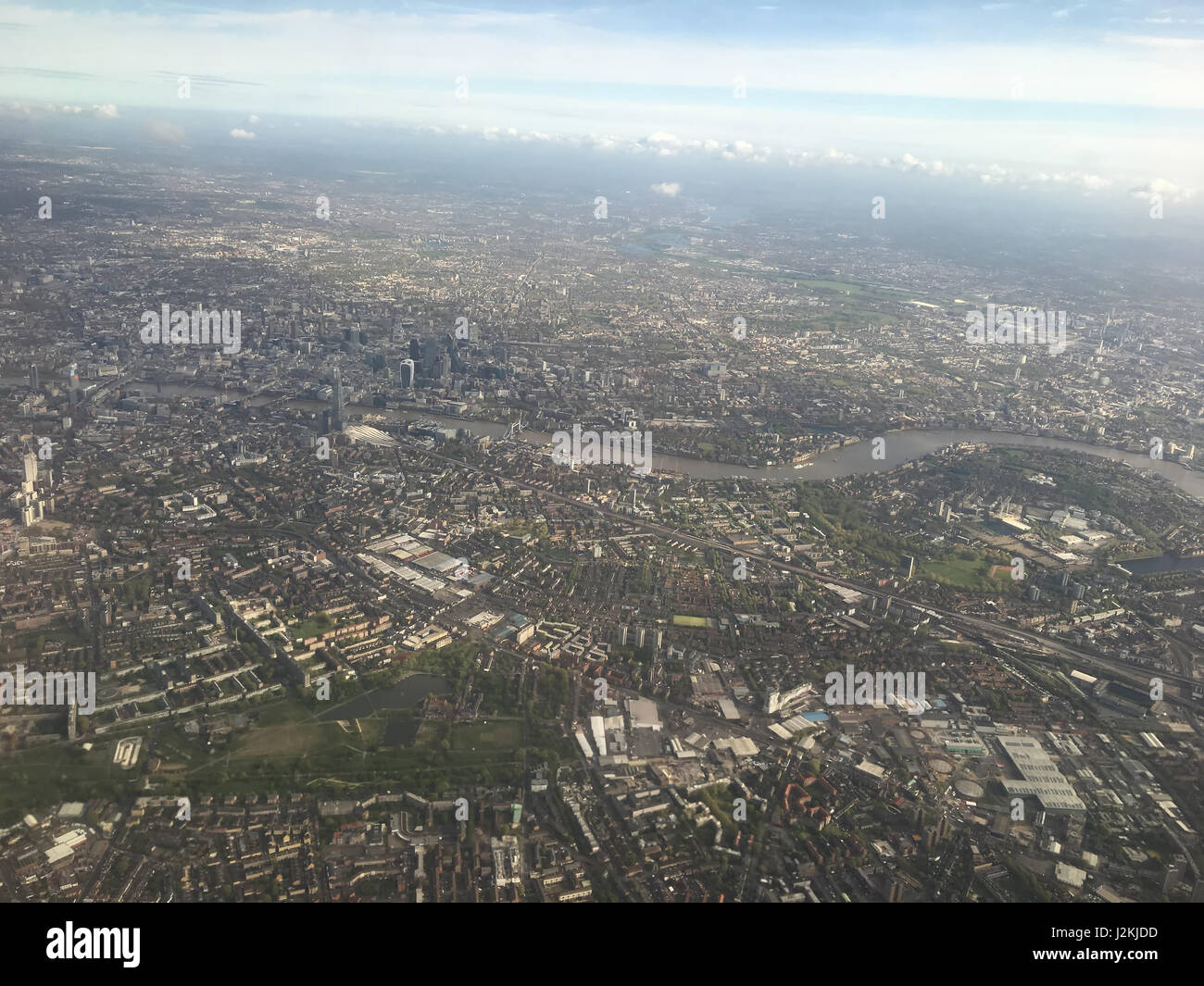 Aerial view over London with Thames river and Westminster. - Stock Image