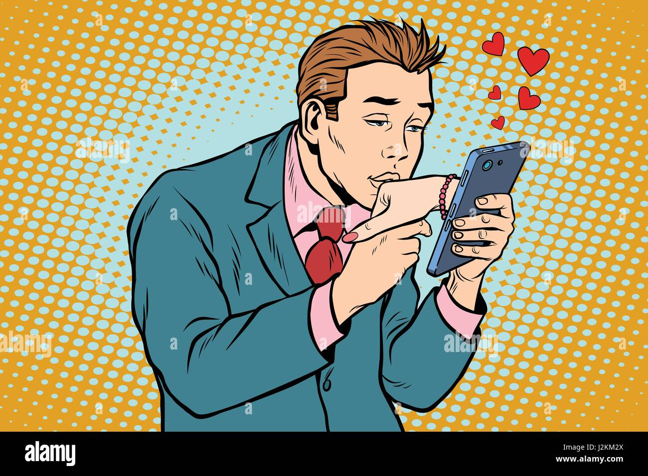 online date and love a man kisses a womans hand via smartphone - Stock Image
