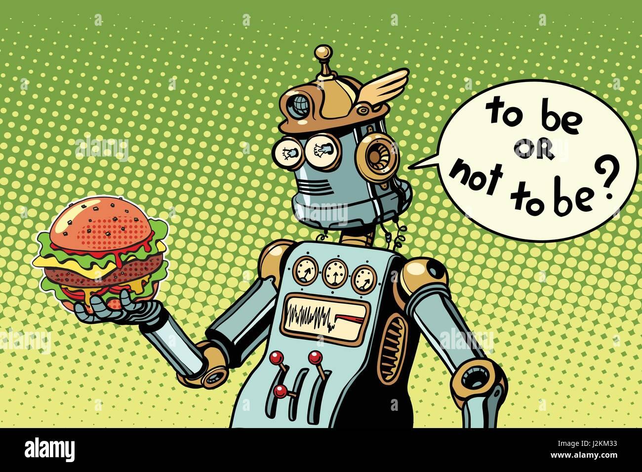 Robot hamburger fast food - Stock Vector