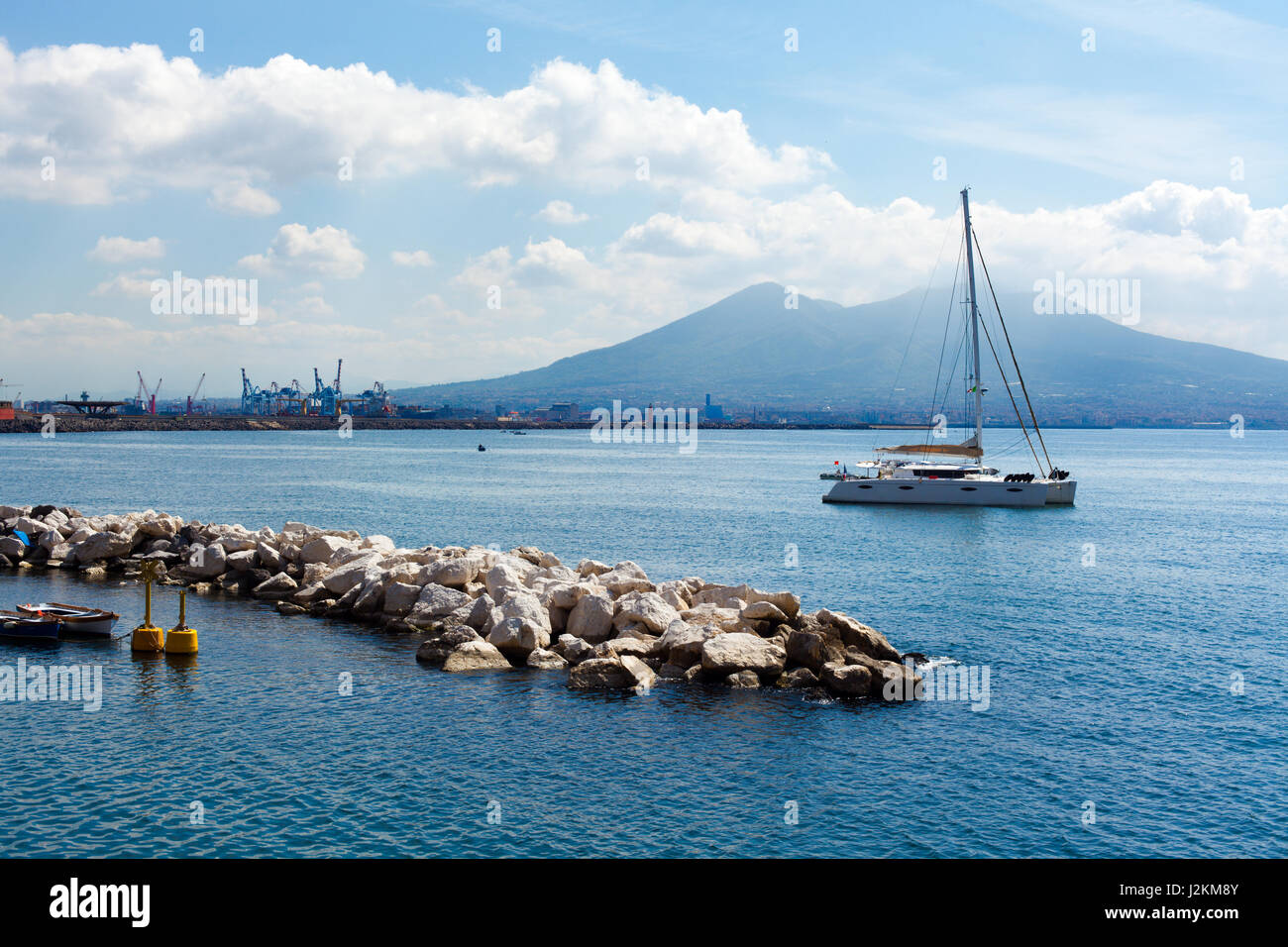 Vesuvius Mountain on Gulf of Naples with Boats - Stock Image