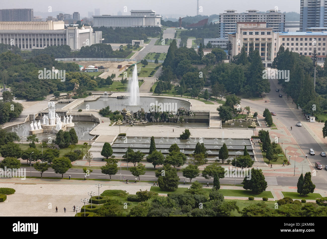 Fountain in the center of Pyongyang - Stock Image