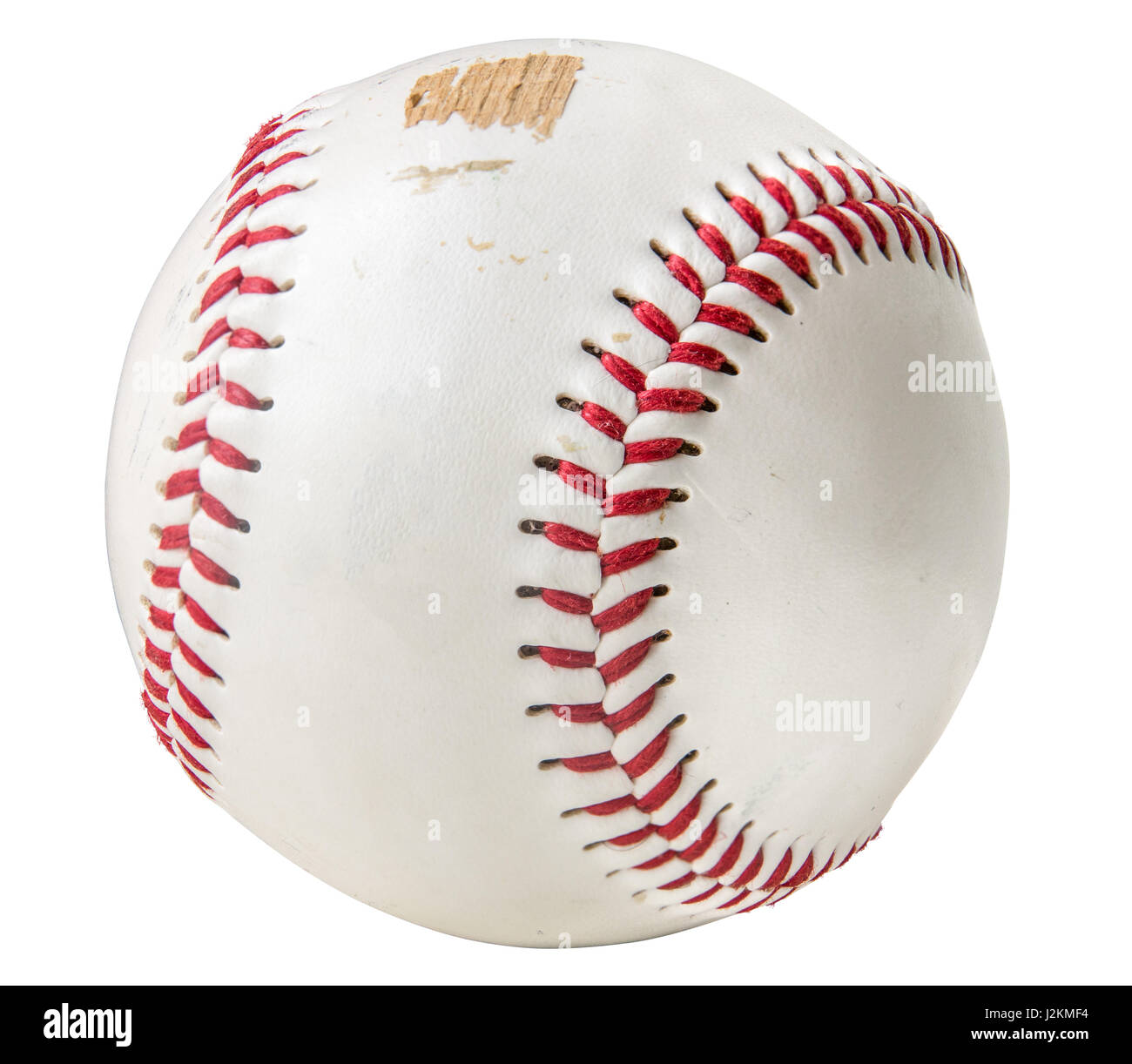 Isolated Grungy Scuffed Baseball On A White Background - Stock Image