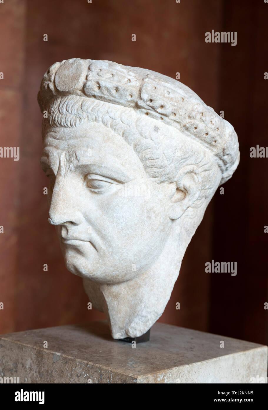 Claudius. Marble bust of the Emperor Claudius (10 BC – 54 AD), fourth Emperor of the Roman Empire, date c. AD 50 - Stock Image