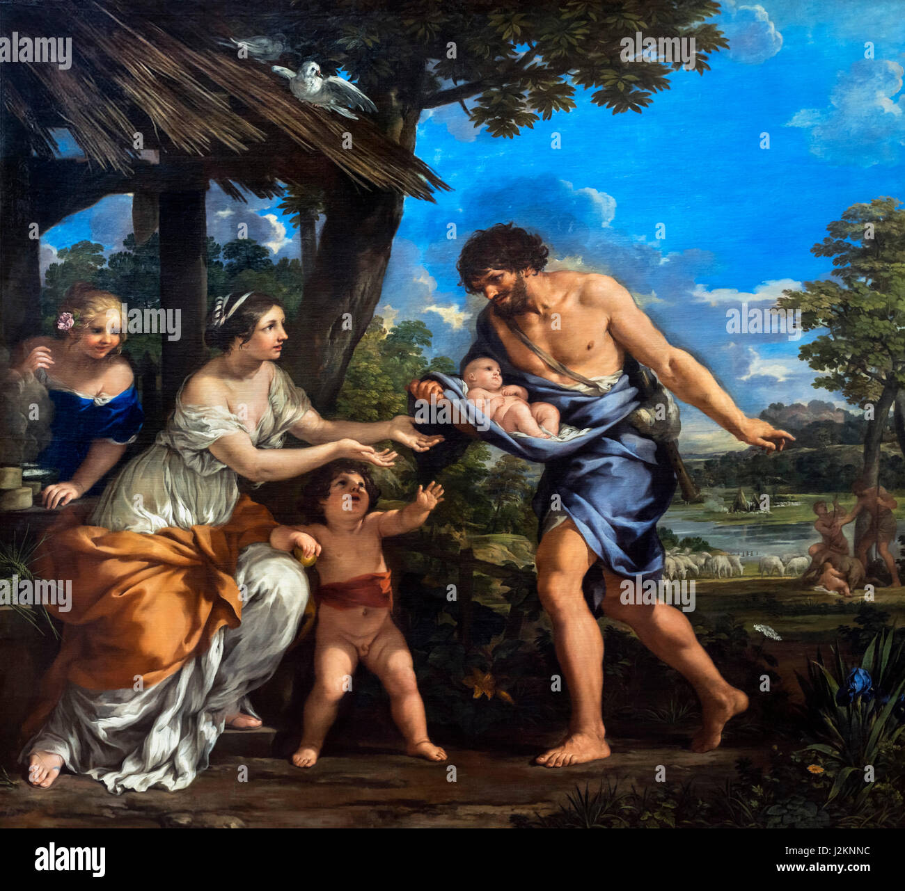 Romulus and Remus. Painting entitled 'Romulus and Remus Given Shelter by Faustulus' by Pietro da Cortona - Stock Image