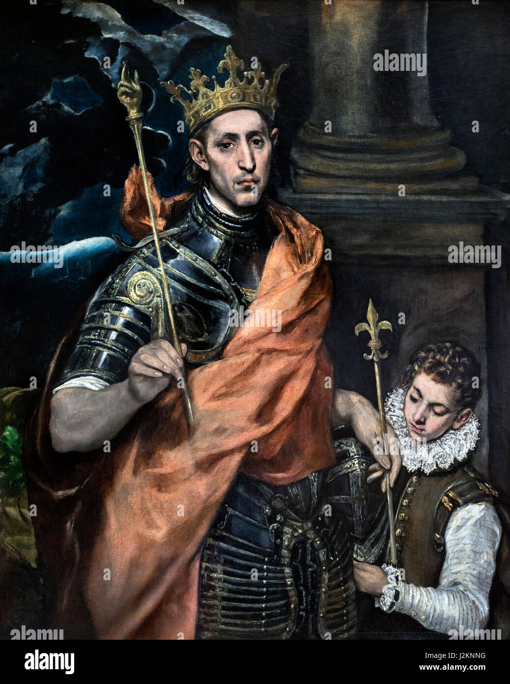 """""""St Louis, King of France, and a Page"""" by El Greco (Domenikos Theotokopoulos, 1541-1614), oil on canvas, c.1585 Stock Photo"""