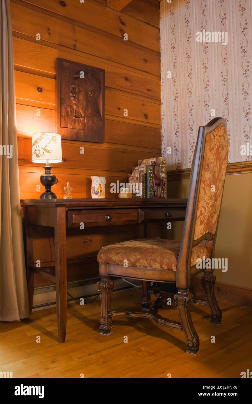 High Back Upholstered Antique Wooden Sitting Chair And Study Desk