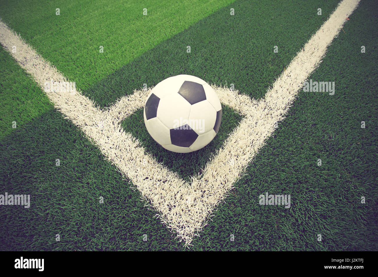 Soccer Ball Or Football On Field Vintage Color