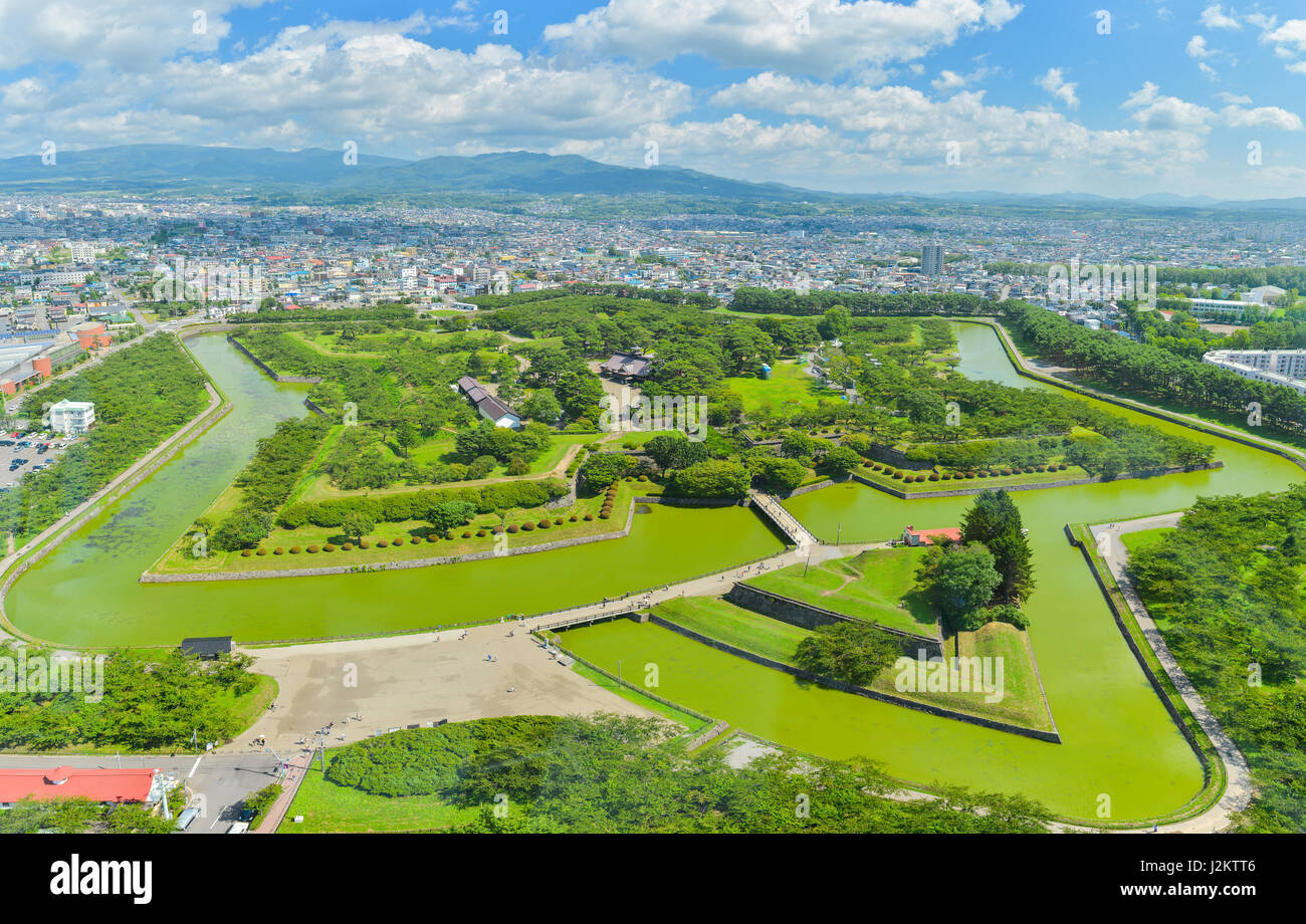 View of Goryokaku Park, where is a star fort in Hakodate, Hokkaido, Japan. - Stock Image