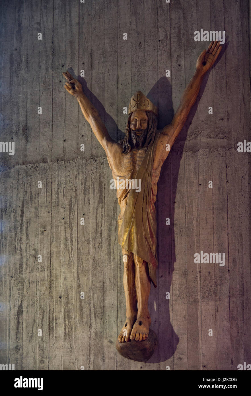 Christ on the Cross, sculpted wooden statue of Father Michel Aupetit (1998), Notre Dame de Royan church, Royan, France, Europe. Stock Photo