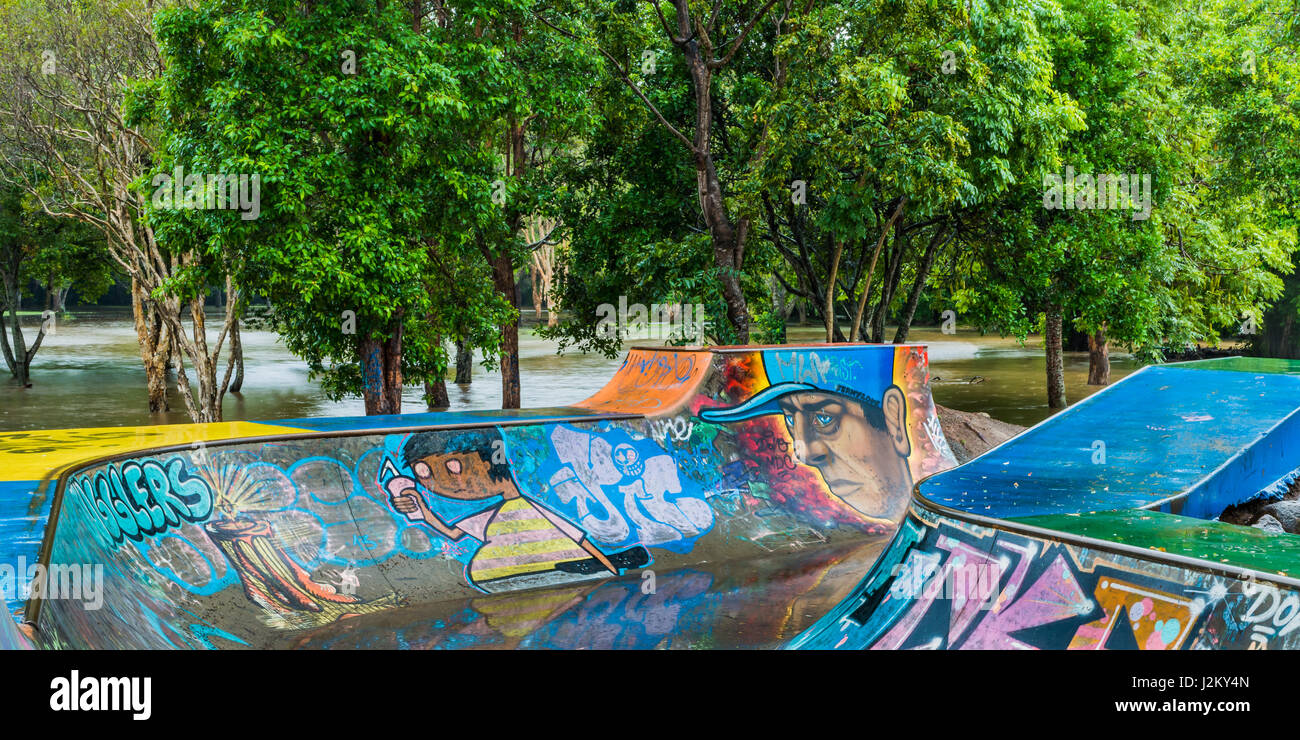 Flooding at Ferny Grove Skate Park following severe storms in 2012 Stock Photo