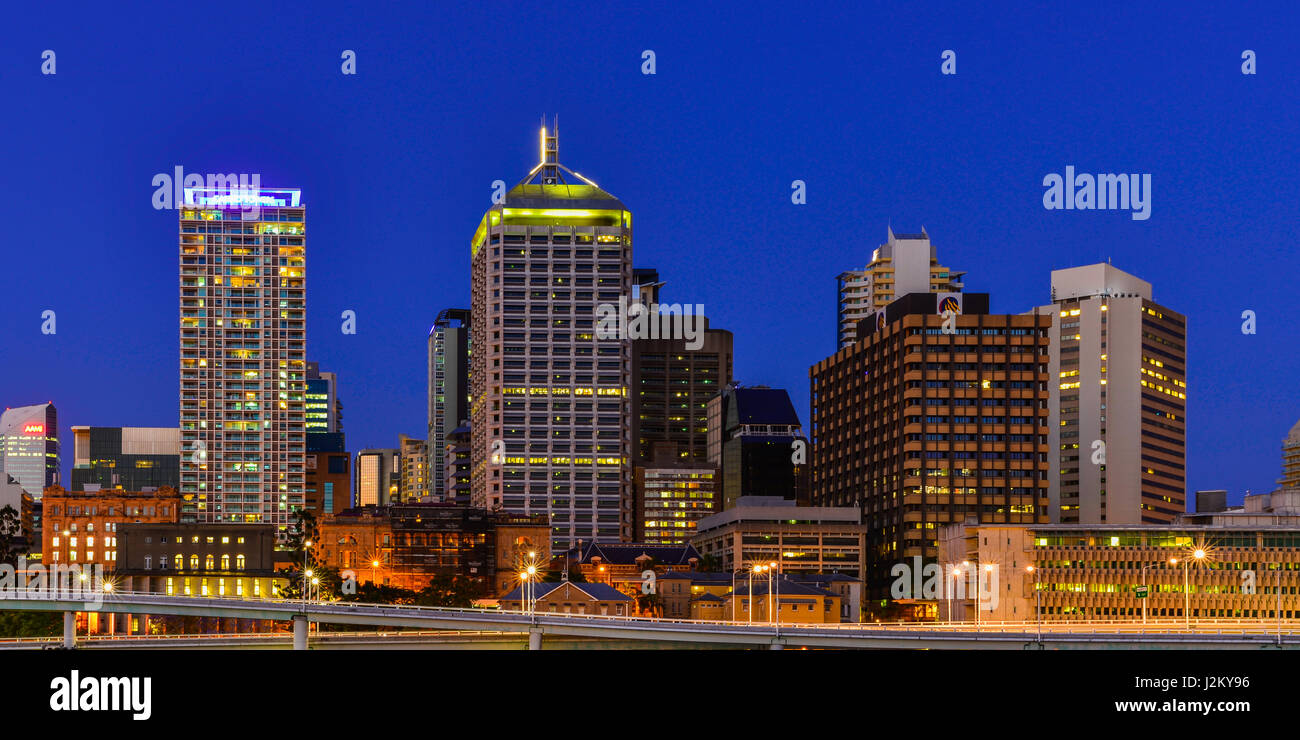 Brisbane CBD from across the river at South Bank, Queensland, Australia. - Stock Image