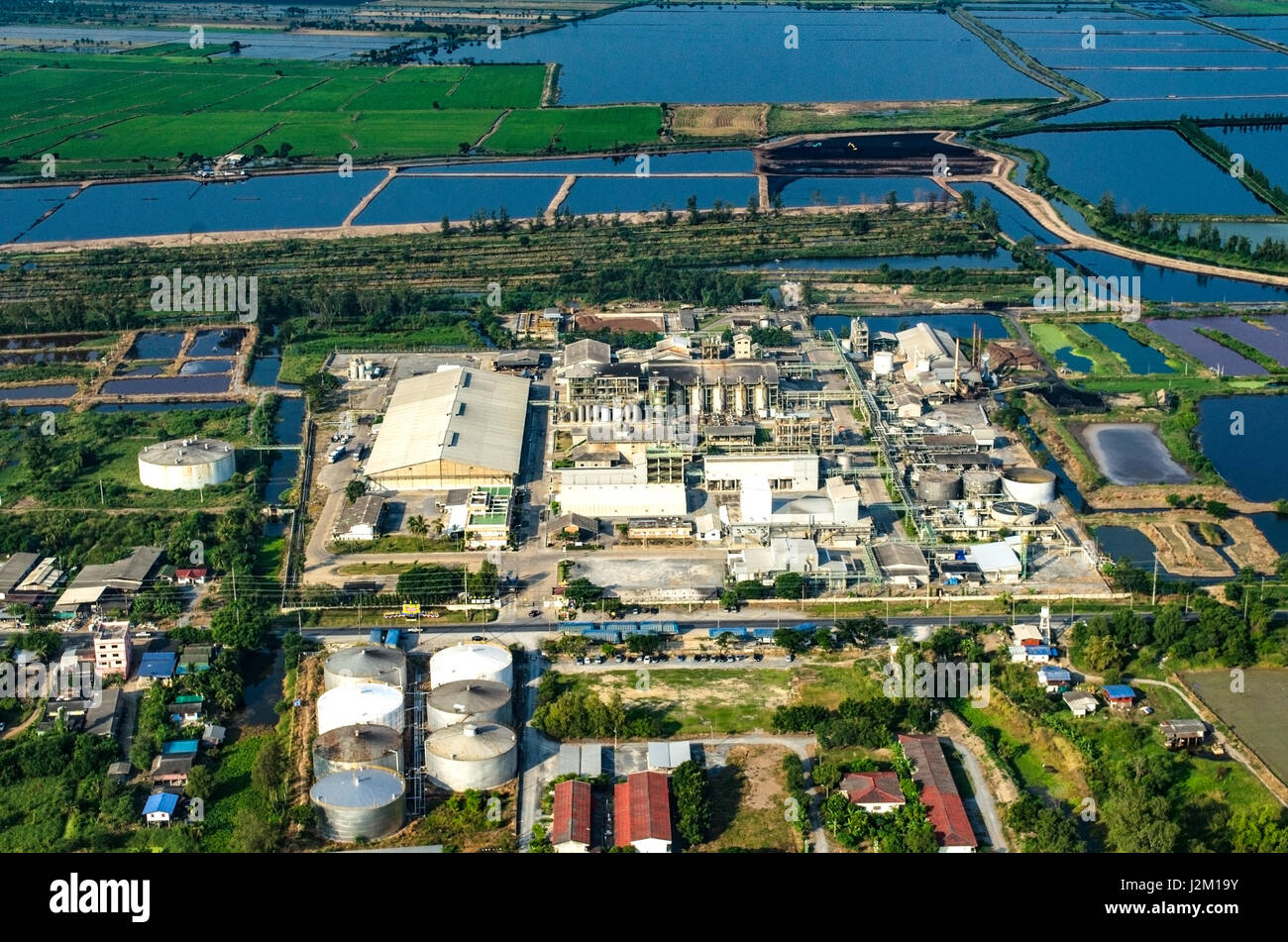 Farming countryside industrial development aerial photo - Stock Image