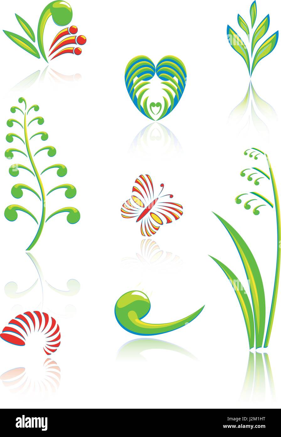 Collection of Maori Koru Design Elements with Color and Reflections - Stock Vector