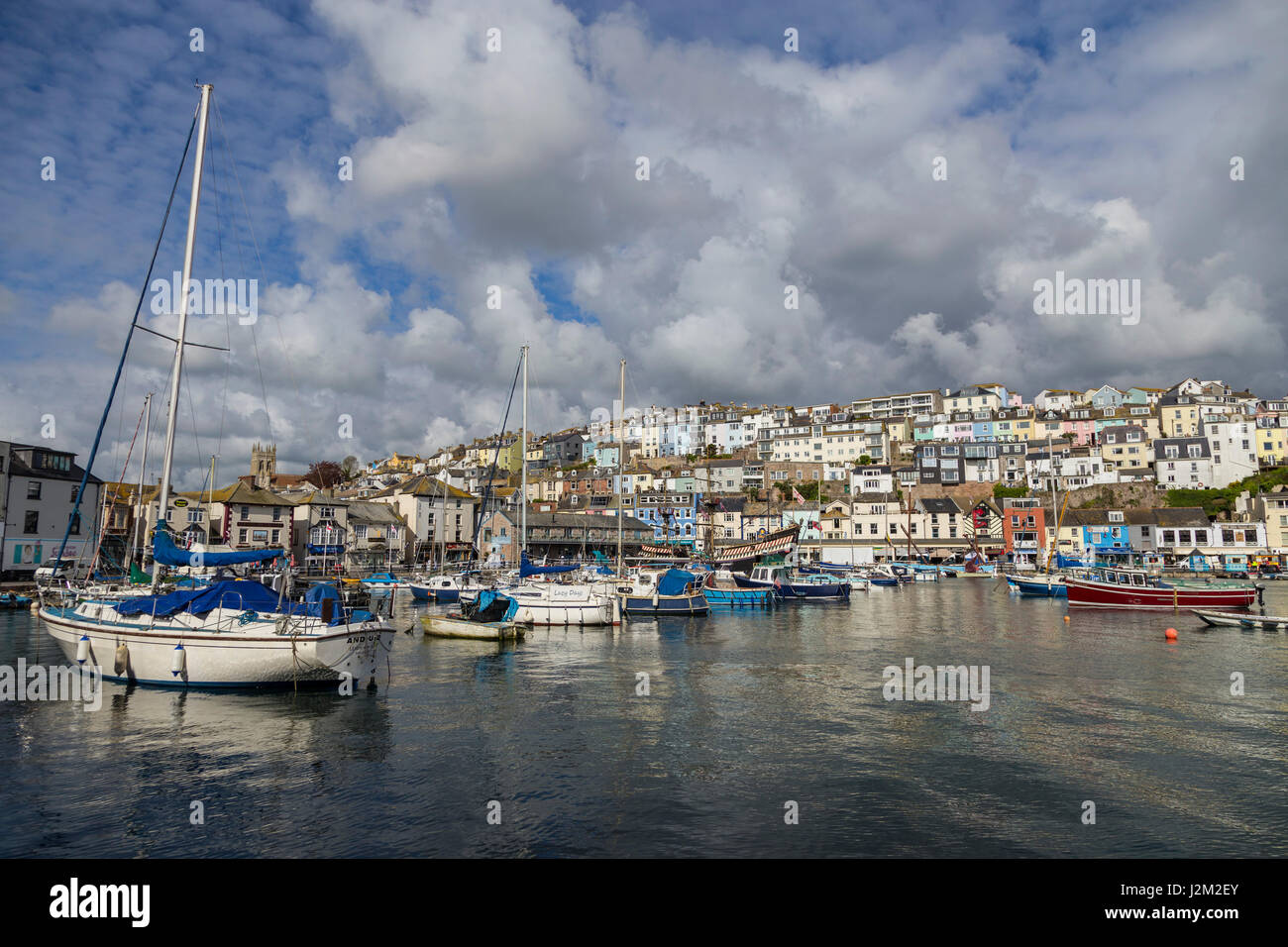 View across Brixham Harbour and Marina,  in South Devon, UK - Stock Image