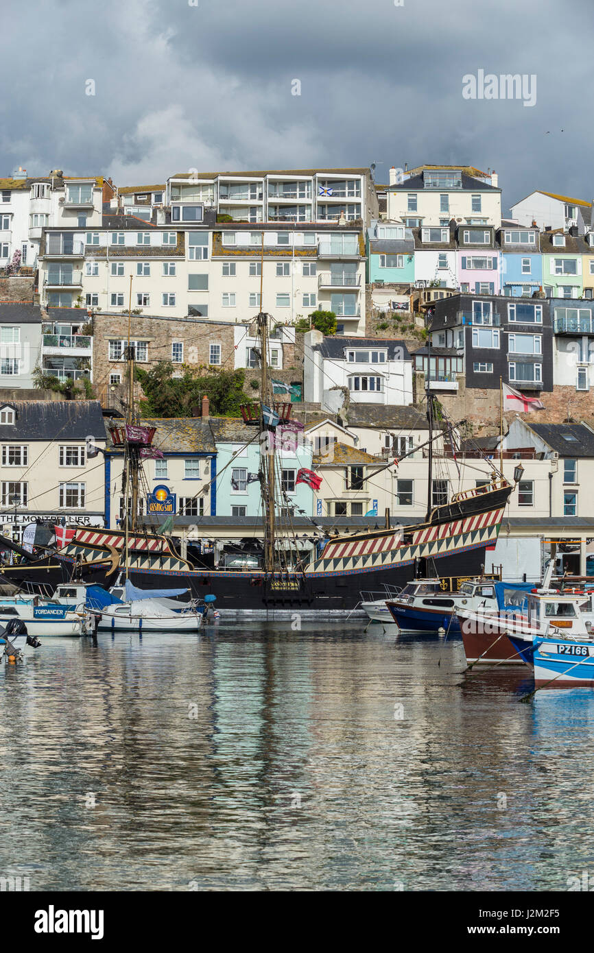 The Golden Hind moored at Brixham Harbour, South Devon, UK. - Stock Image