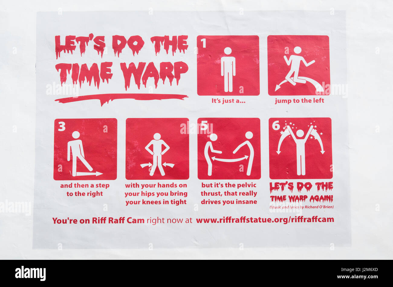 New Zealand, North Island, Hamilton, dance step instructions for Lets do The Time Warp dance, monument to Rocky - Stock Image