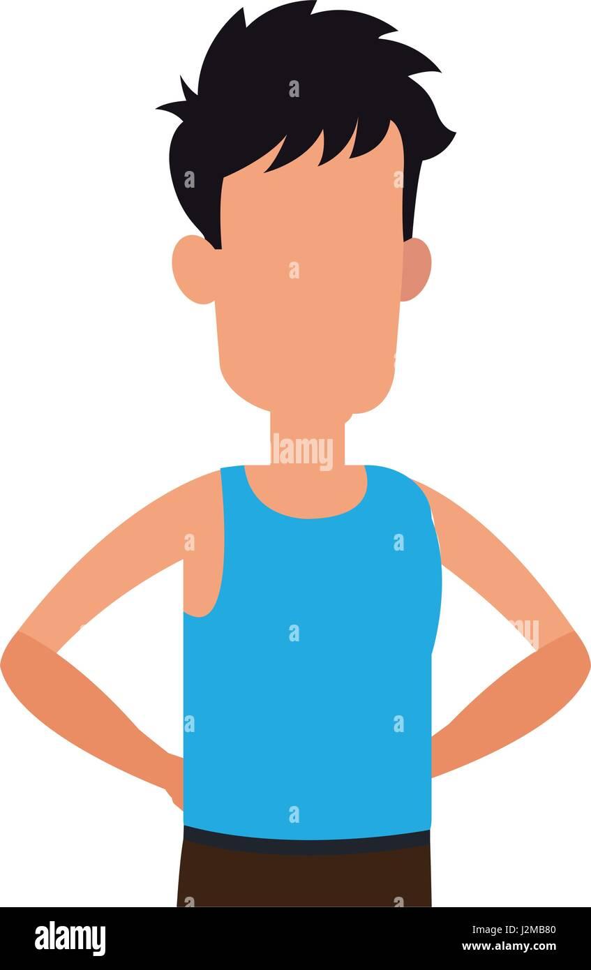 character man tousled leisure image - Stock Image
