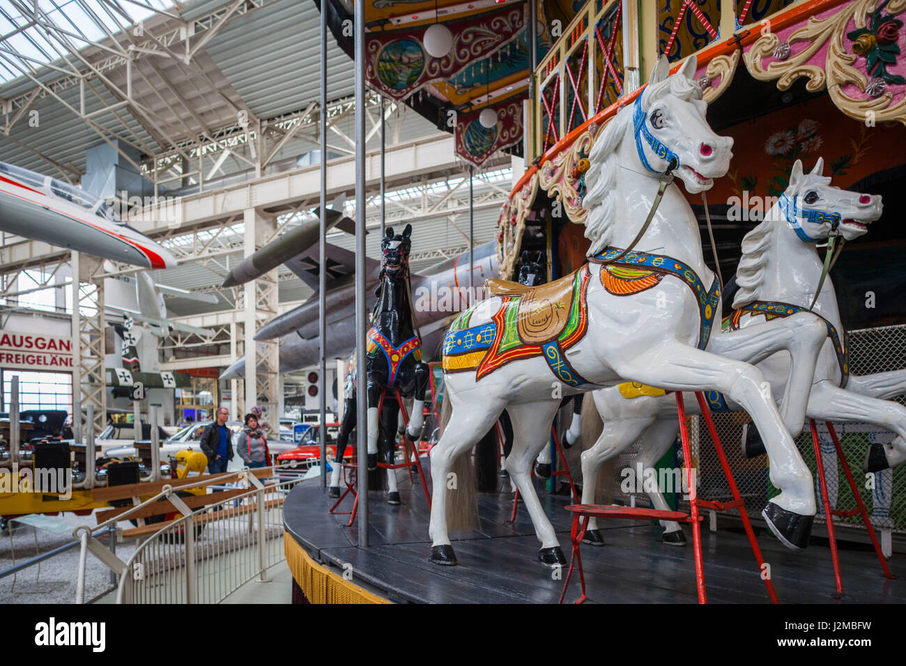 Germany, Rheinland-Pfalz, Speyer,Technik Museum Speyer, aviation and technology display gallery, carousel - Stock Image