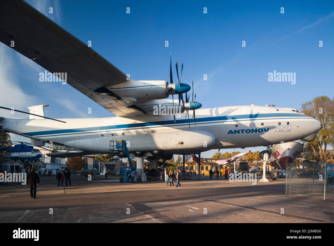 Germany, Rheinland-Pfalz, Speyer,Technik Museum Speyer, Russian Antonov AN-22, jumbo cargo aircraft - Stock Image
