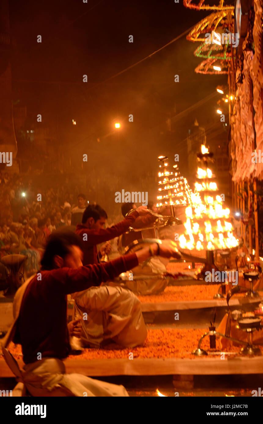 Aarti ceremony at Dashashwamedh Ghat in Varanasi, Uttar Pradesh, India, Asia - Stock Image