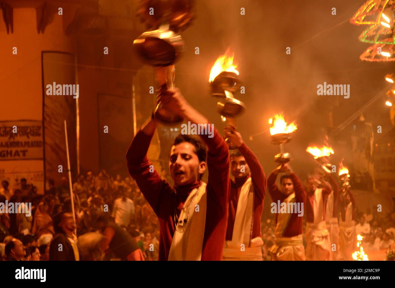 Aarti ceremony at Dashashwamedh Ghat in Varanasi, Uttar Pradesh, India, Asia - Stock Image