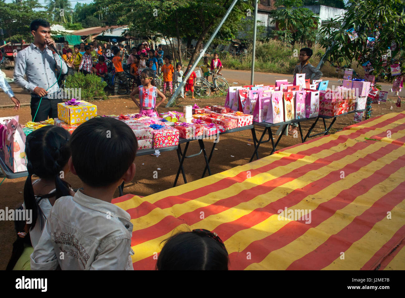 Christmas presents are on display at a Christmas party at a foreign language school in Chork Village, Tboung Khmum Stock Photo