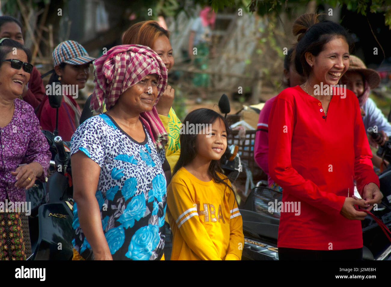 Childer are gathered for a Christmas party at a foreign language school in Chork Vilage, Tboung Khmum Province,Cambodia. Stock Photo
