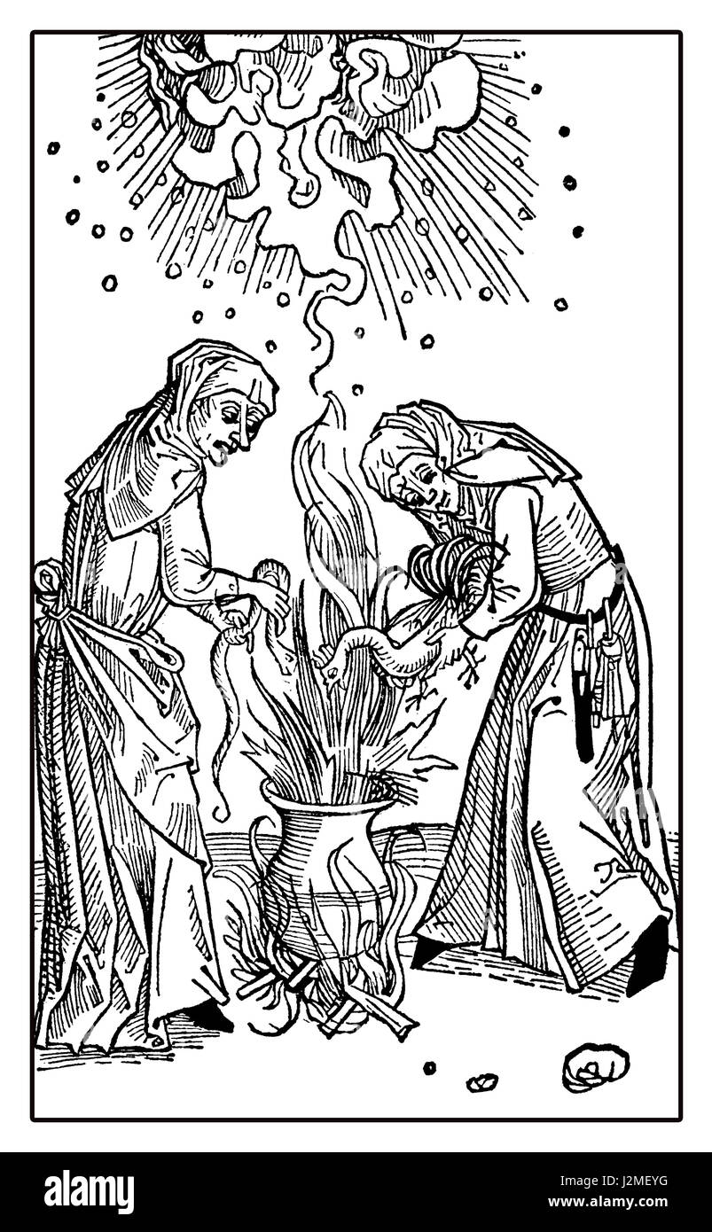 Witchcraft vintage illustration, witches at the caldron on fire flames preparing a potion - Stock Image