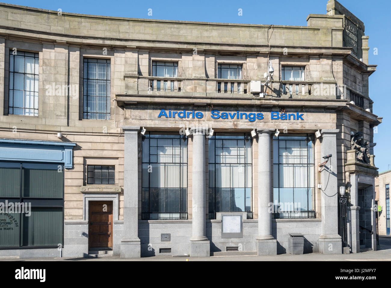 The Airdrie head office of the Airdrie Savings Bank, the last independent   savings bank in the UK, which closed - Stock Image
