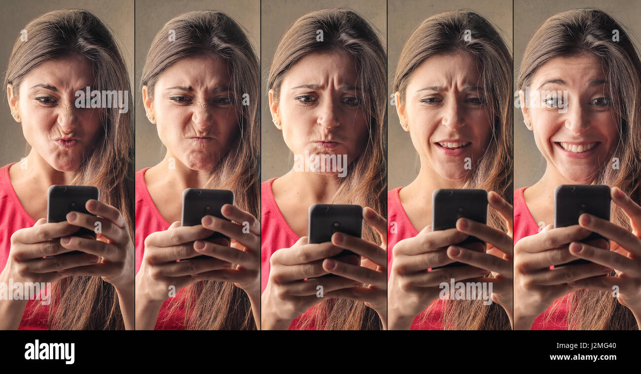 Collage of woman from being mad to happy - Stock Image