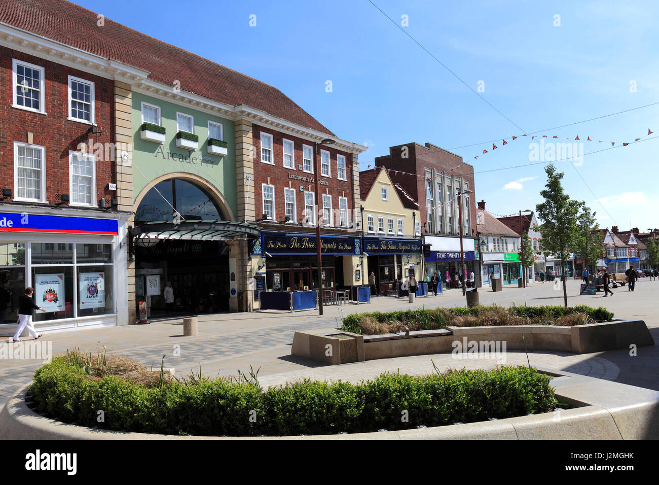 Shops in the Town centre of Letchworth Garden City ...
