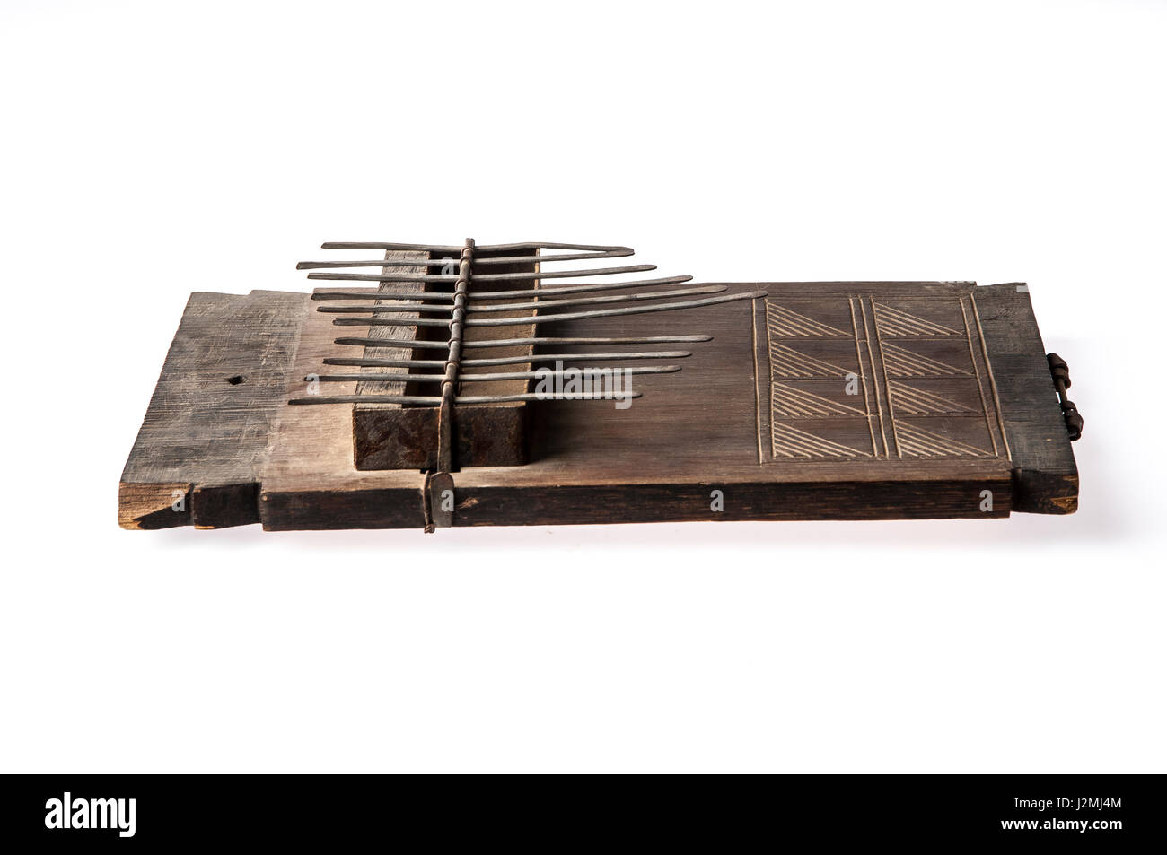 African handmade music instrument isolated on white background - Stock Image