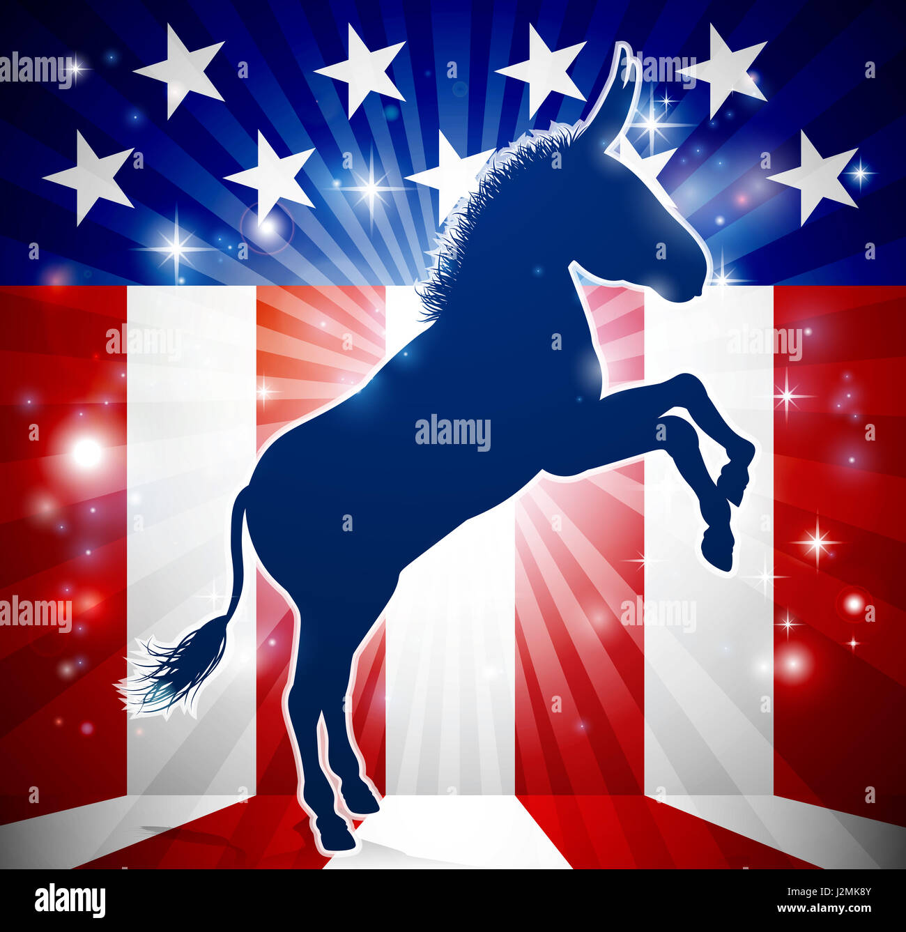 A donkey in silhouette with an American flag in the background democrat political mascot animal - Stock Image