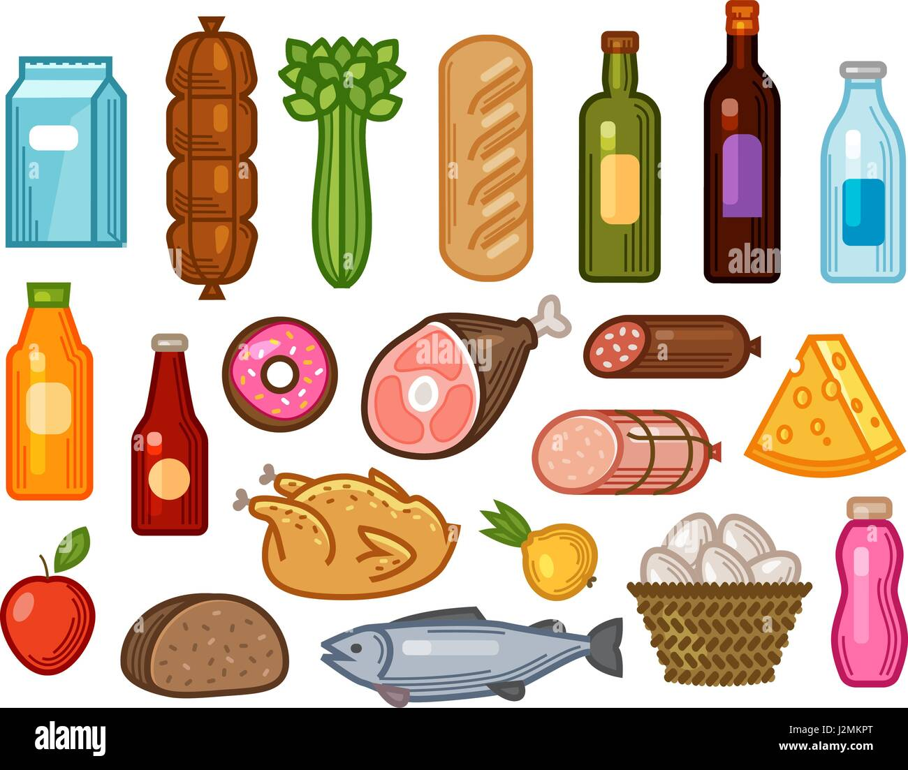 Cooking Concept Flat Icons Set Stock Vector: Food And Drinks Icons Set. Grocery Shopping Concept