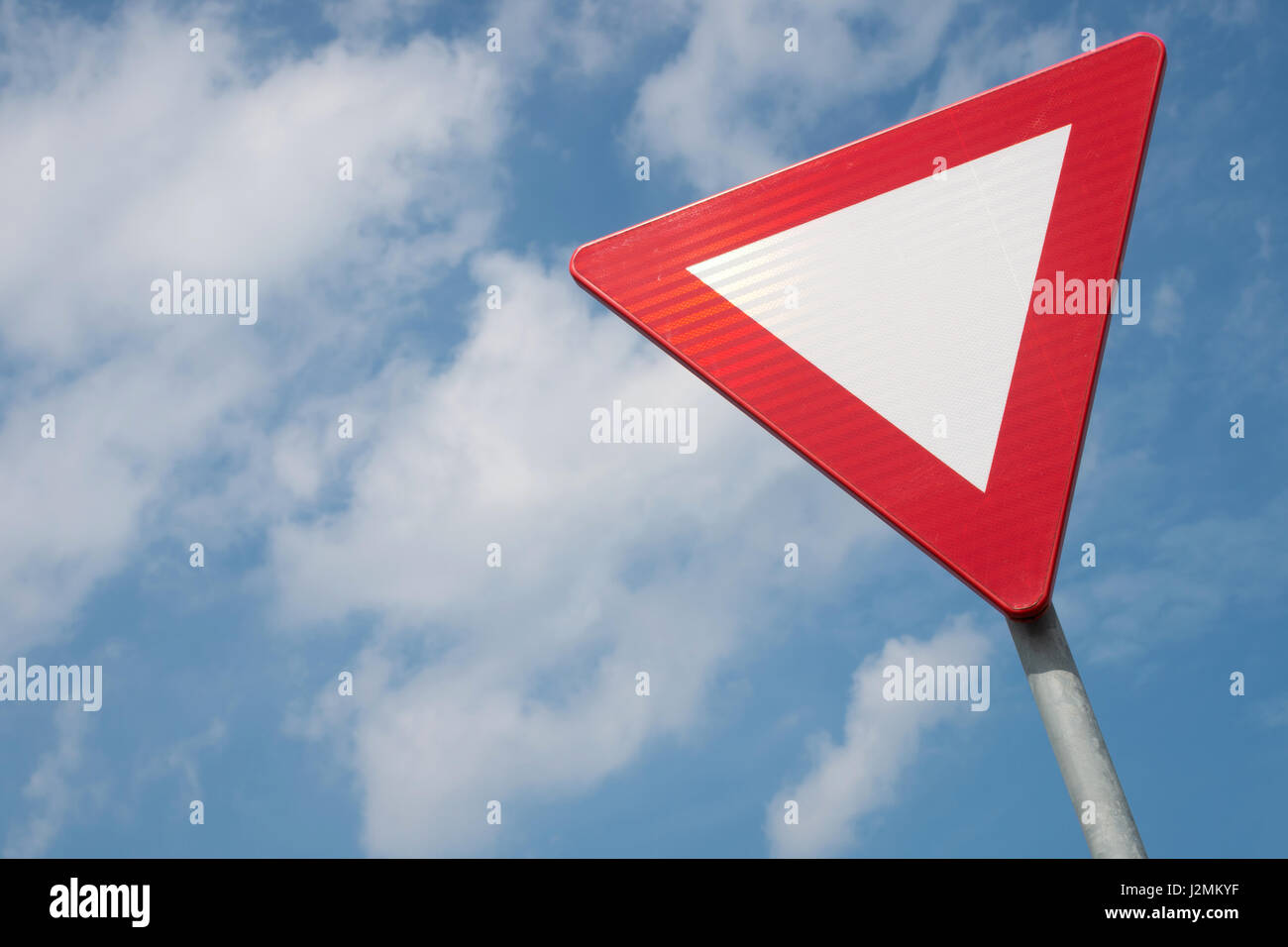 Dutch road sign: give priority to traffic on the main road ahead - Stock Image
