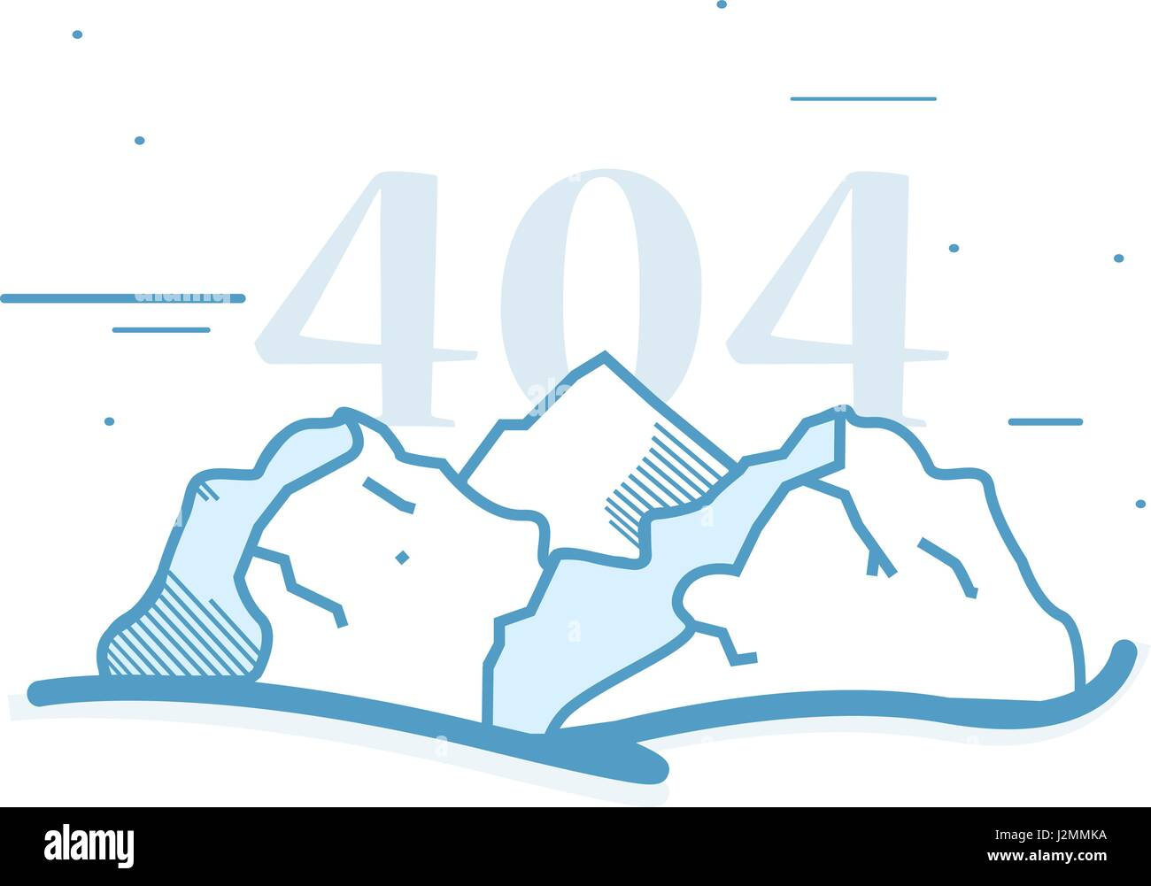 Animated Cartoon Mountain Landscape Logo with Custom Title Copyspace in Minimalist Flat Vector Isolated - Stock Vector