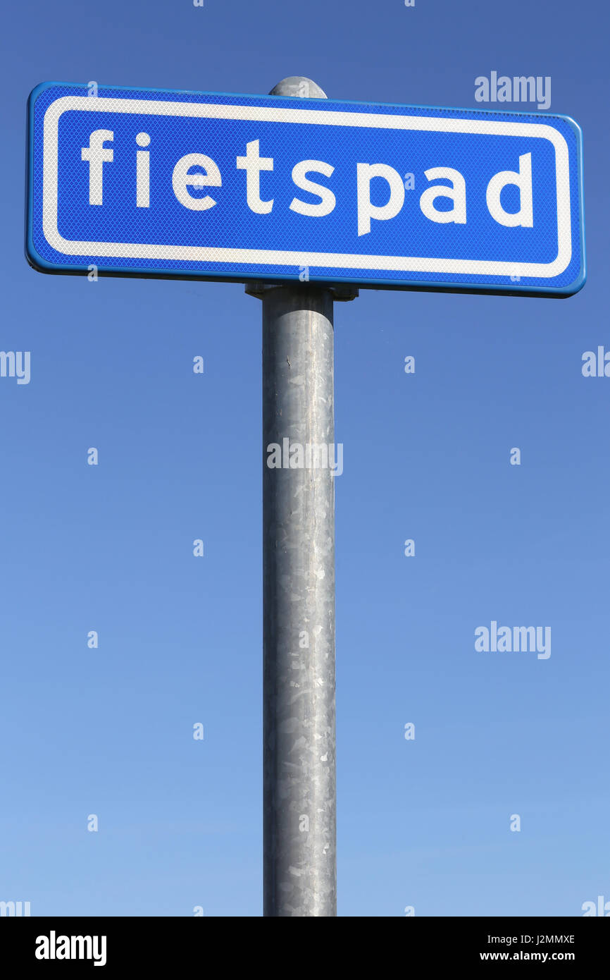 Dutch road sign: optional cycle path - Stock Image