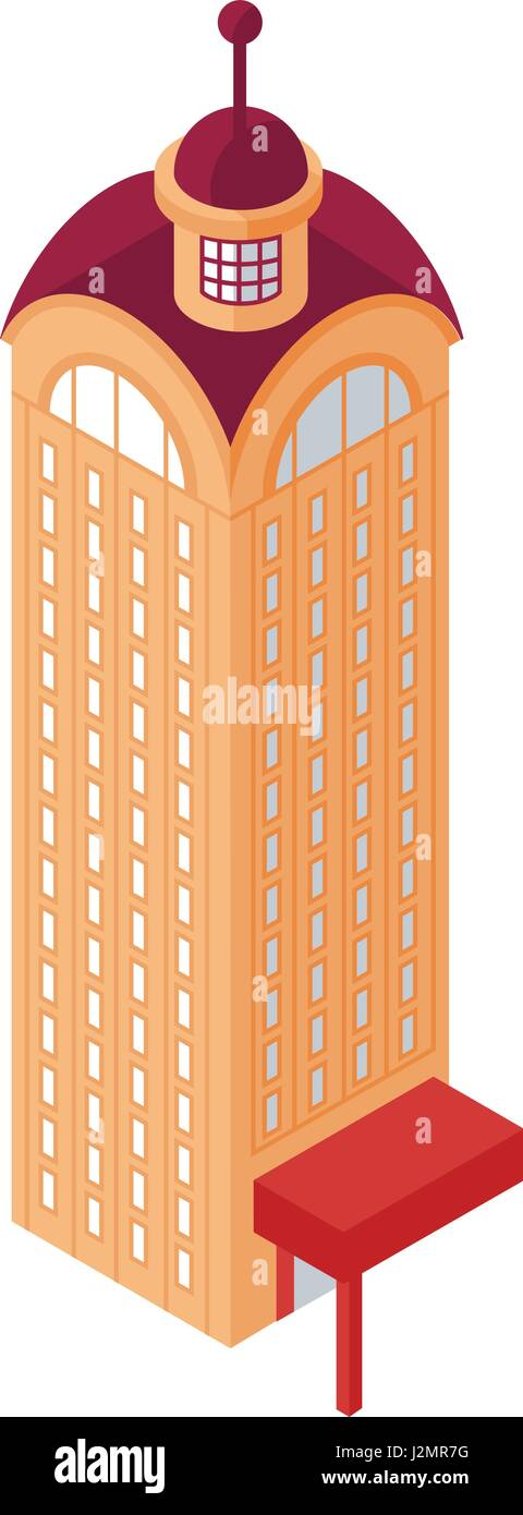 Isometric Skyscraper Building Object or Icon - Element for Web, Tileset Map, Landscape Design, Urban Architecture - Stock Vector