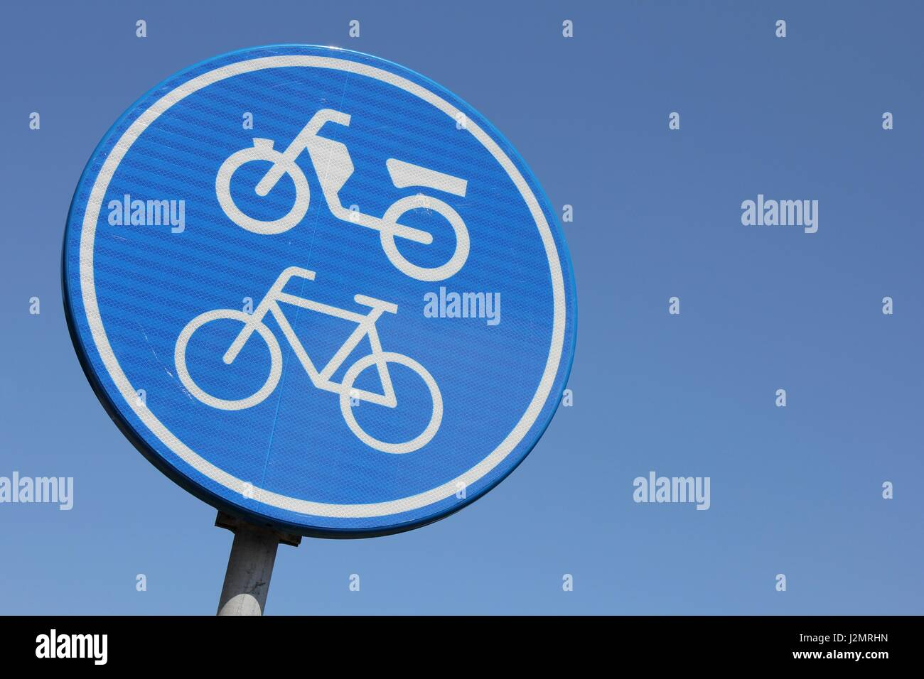Dutch Road Sign Route For Pedal Cycle And Mopeds Only Stock Photo