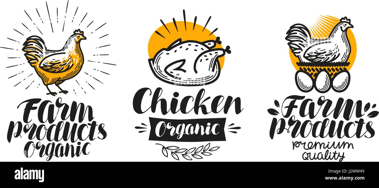 Chicken, hen label set. Poultry farm, egg, meat, broiler, pullet icon or logo. Lettering vector illustration - Stock Vector