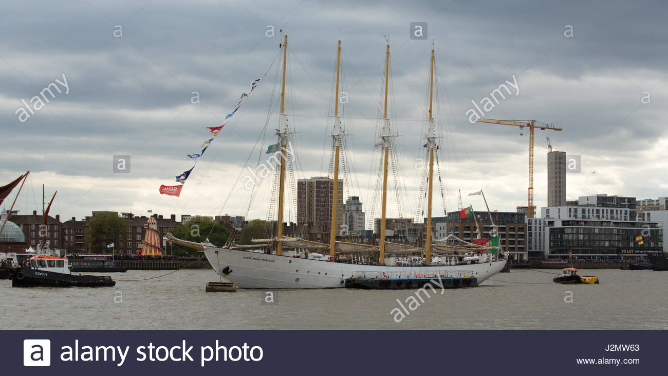 Santa Maria Manuela tied up near Cutty Sark on the River Thames during the 2017 Sail Royal Greenwich tall ship festival - Stock Image
