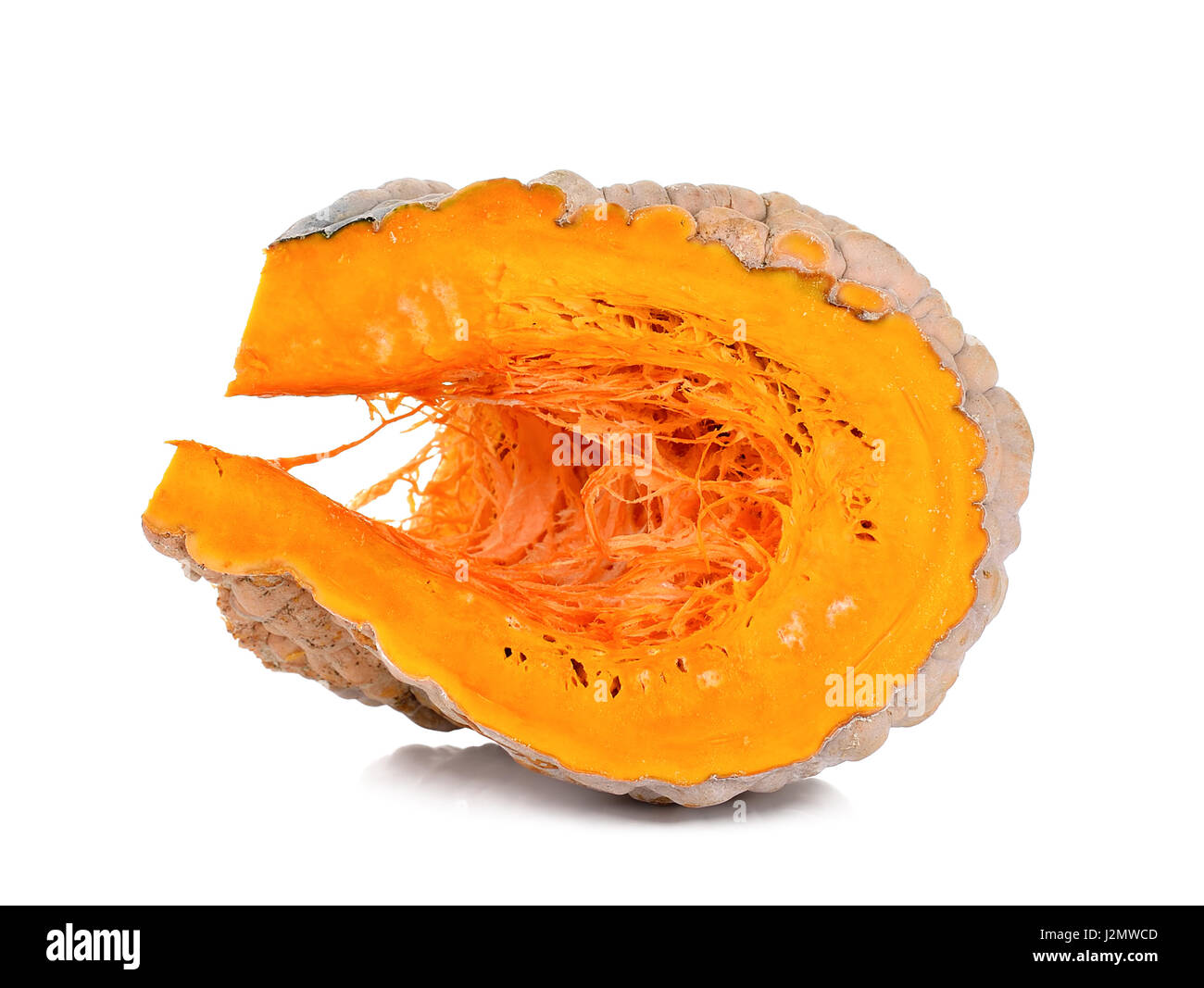 Slice pumpkin isolated on the white background. Stock Photo