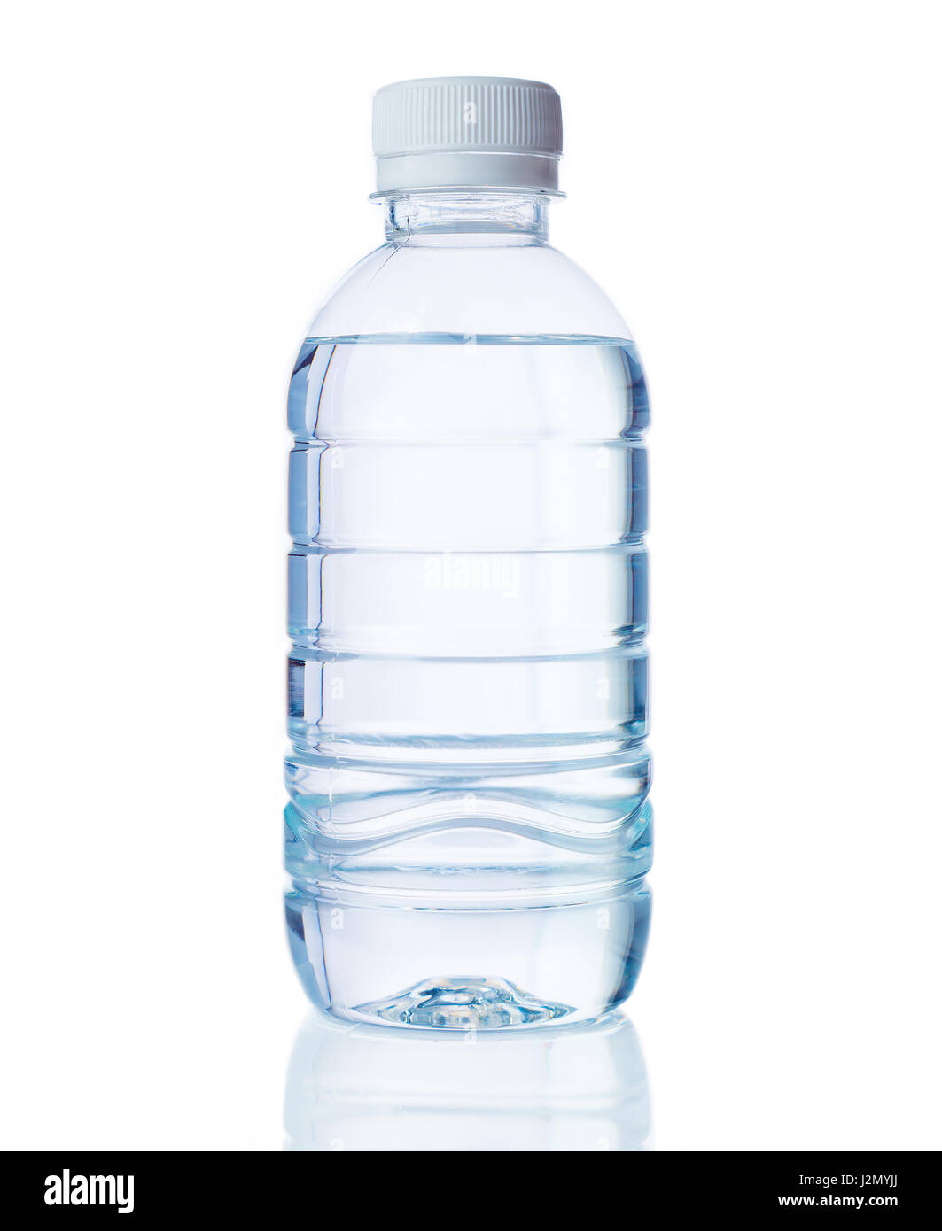 plastic bottle of clear drinking water on isolated white background