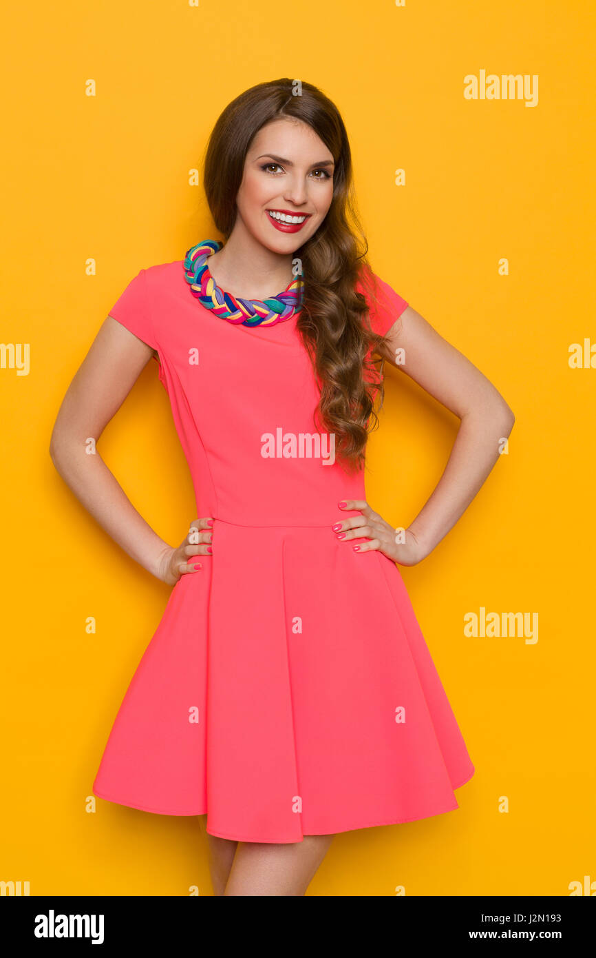 7ac1c5f857ca Smiling beautiful young woman in pink mini dress with colorful braided  necklace posing with hands on